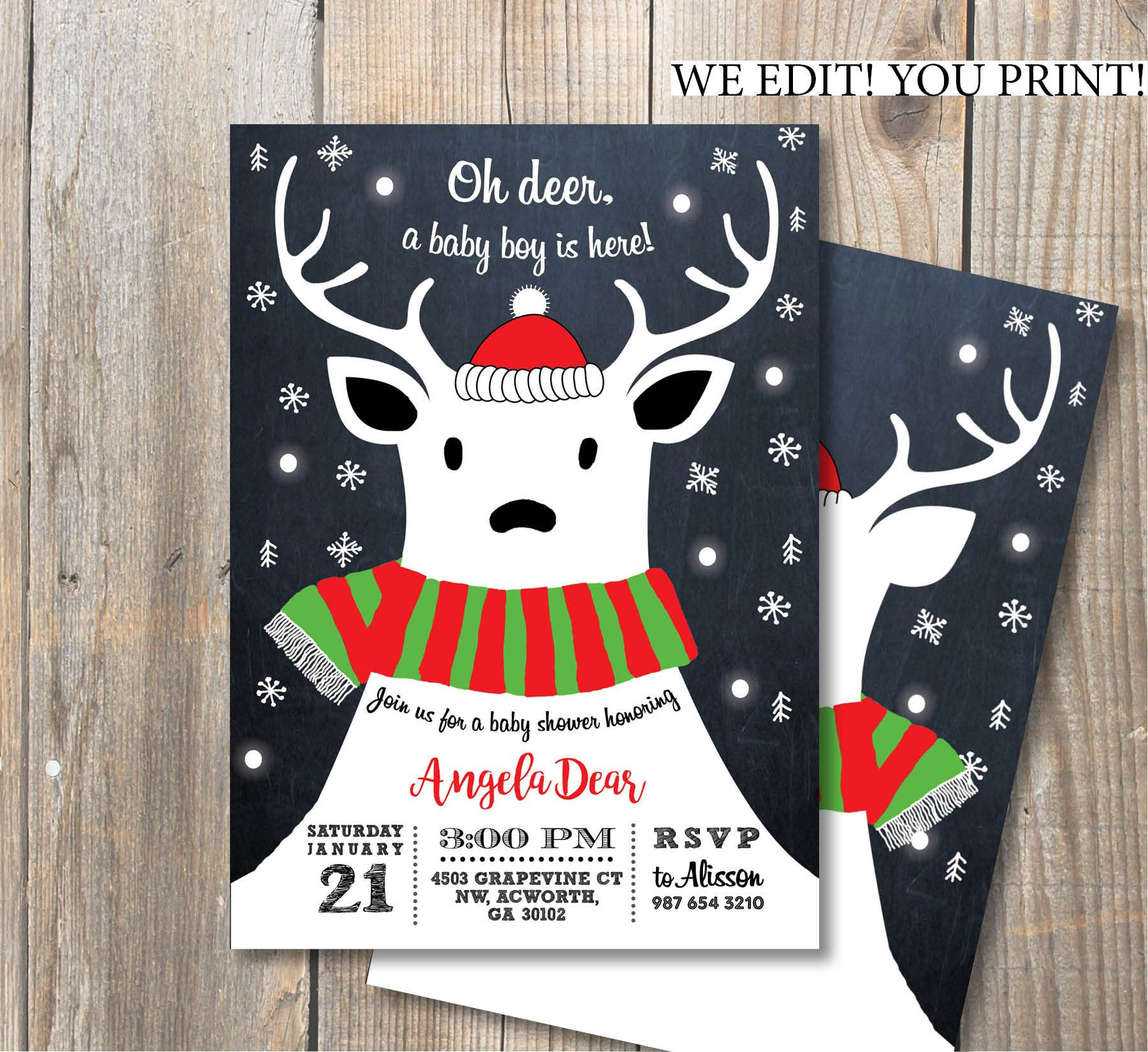 Oh Deer Winter Baby Shower Invitation Chalkboard Polar Deer Double