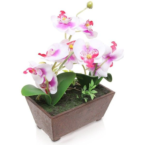 white purple artificial silk orchid flowers in rectangular pot 13 - Silk Orchids