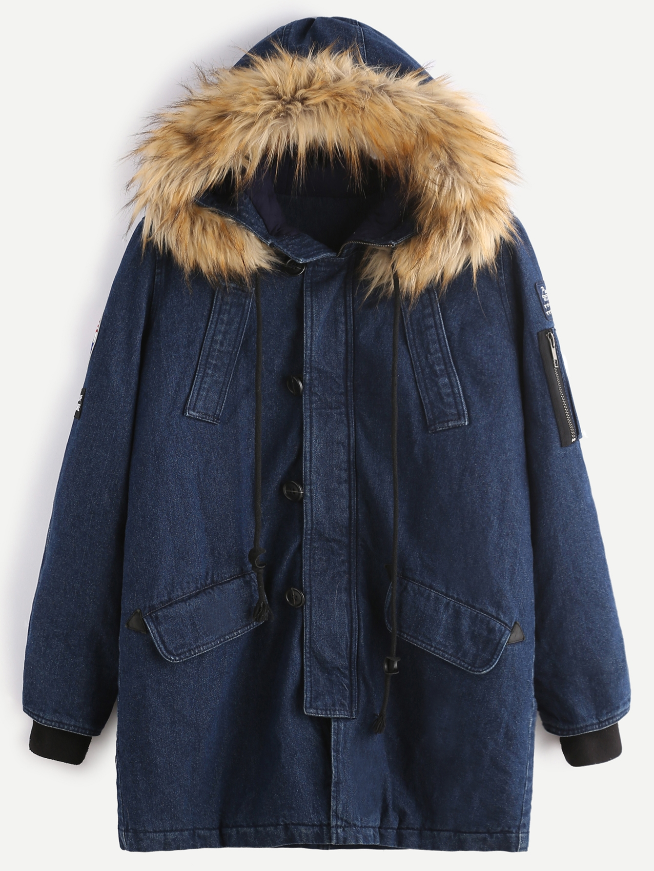 57$  Watch here - http://digo4.justgood.pw/go.php?t=9028 - Navy Utility Denim Coat With Faux Fur Hood