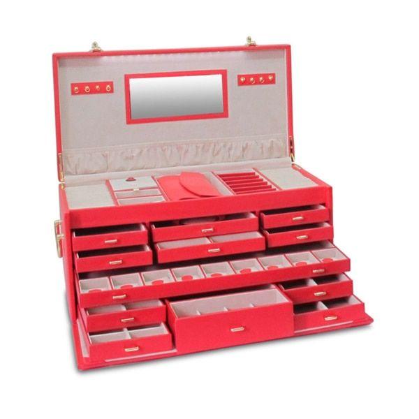 Morelle Elizabeth Large Leather Illuminated Jewelry Box Red Box