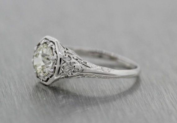 Antique Art Deco Platinum Filigree 1.46ctw Diamond by exquisiteccj