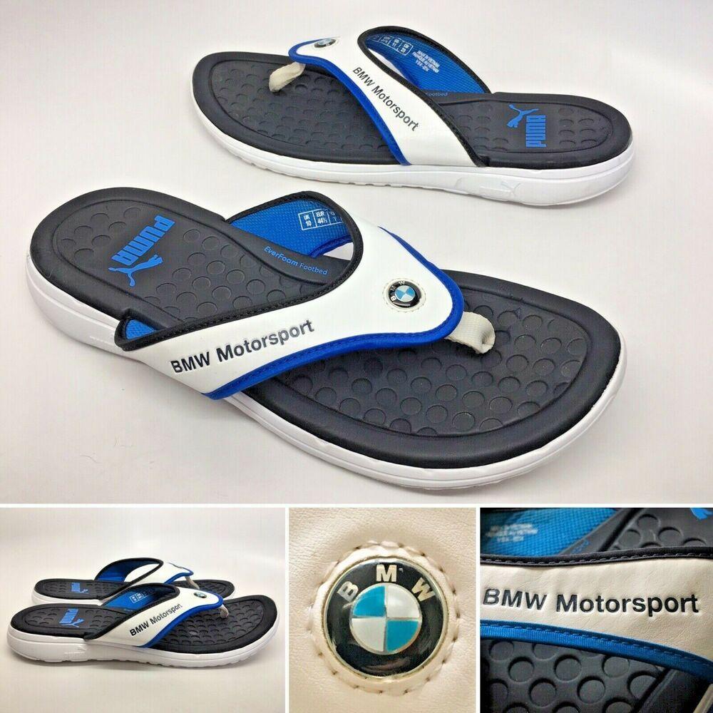 29870dd0b51c PUMA BMW Motorsport White Blue Black Everfoam Thong Sandals Flip Flops Mens  11  PUMA  FlipFlops