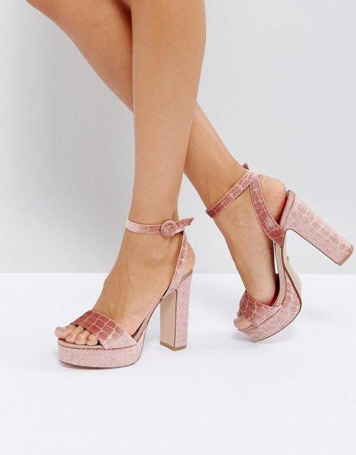 fd3ded08345 Dune Morisey Velvet Platform Heeled Sandals