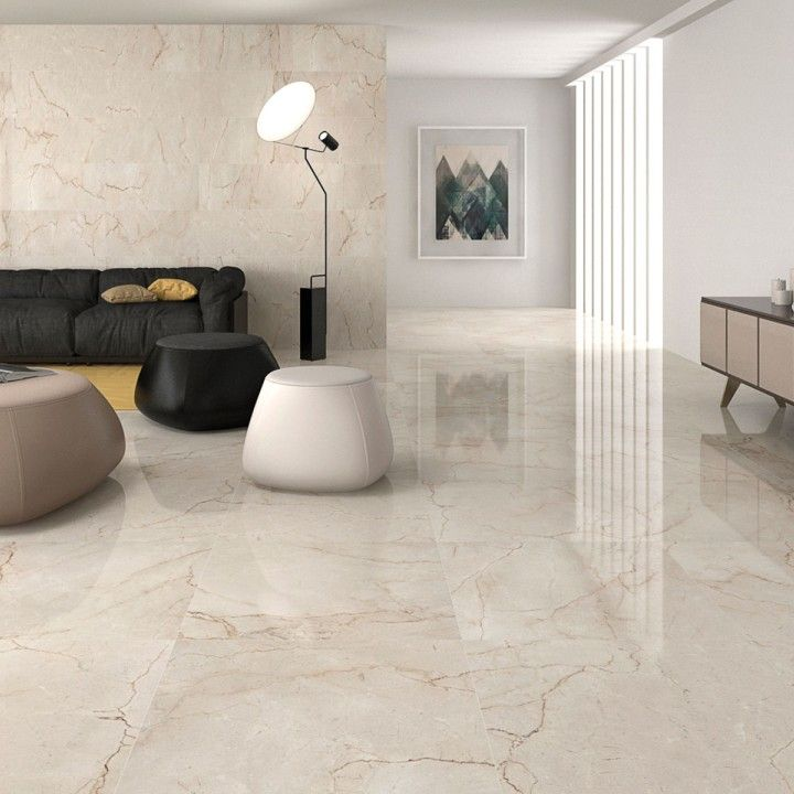 Classic cream gloss floor tiles have a lovely marble effect finish ...
