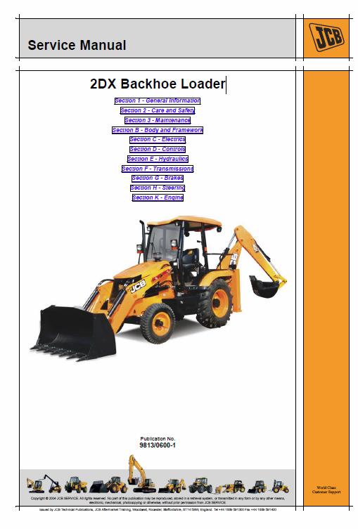 Jcb 2dx Backhoe Loader Service Manual Backhoe Loader Backhoe Manual