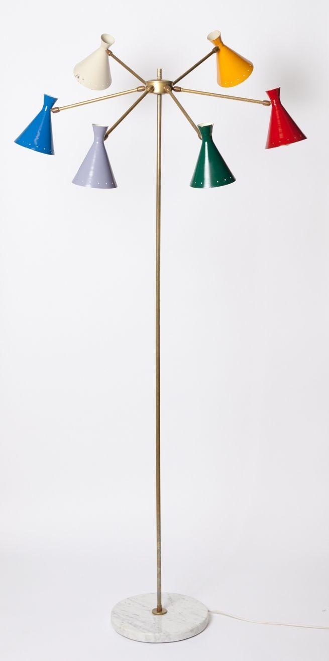 Stilnovo Sarfatti Brass Stehlampe original mid century modern 50er ...
