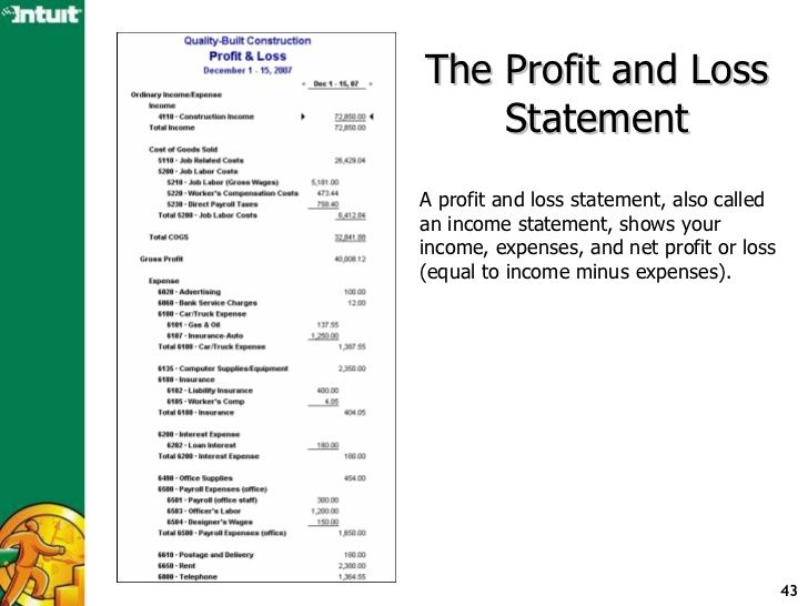 QuickBooks reporting to analyze the finances of your business - profit loss template