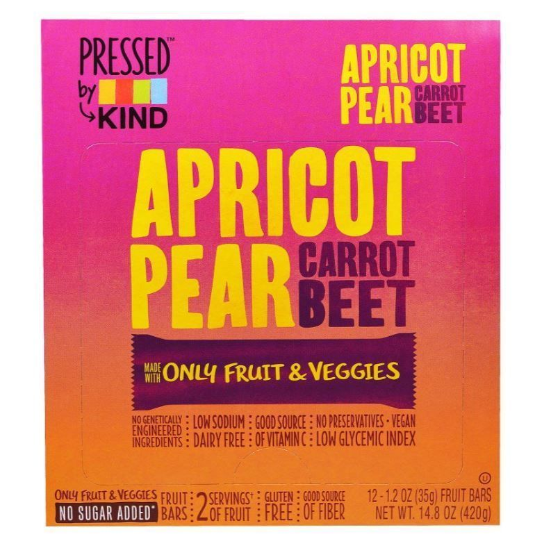 apricot pear carrot beet 12 fruit bars 1 2 oz 35 g healthy snack food