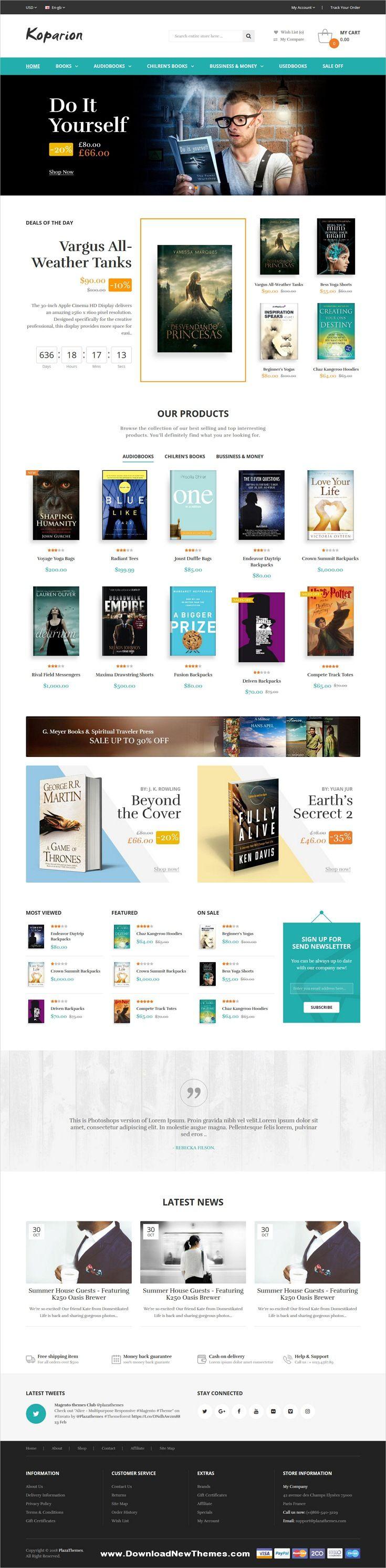 Koparion Book Shop Responsive Opencart Theme Ecommerce Web Design Opencart Online Bookstore