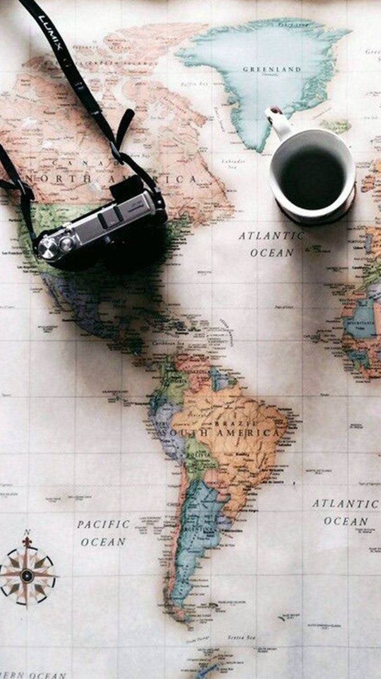 World Map Travel Plans Camera Coffee IPhone 6 Wallpaper Wallpapers