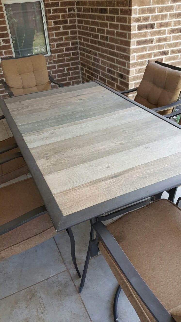 Replacement Tiles For Patio Table : replacement, tiles, patio, table, Repair, Patio, Table, After, Glass, Breaks., Screwed, Along, Center, Extra, Support., Spray, Clear, Table,