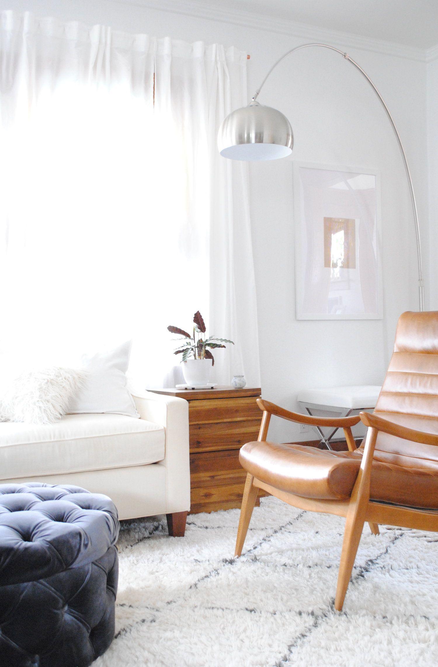 Living Room Design featuring Hans Wegner chair velvet ottoman whi