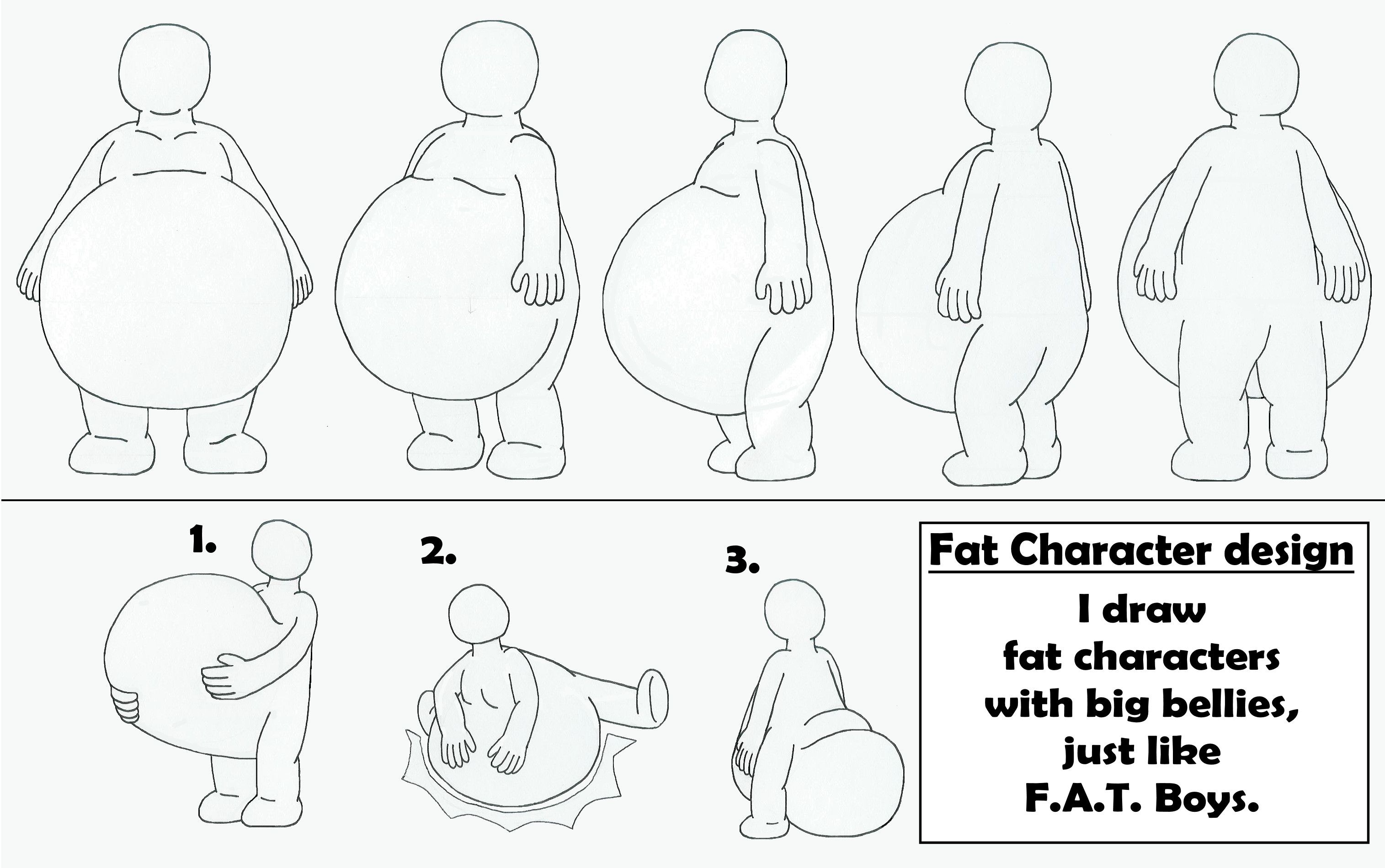 Fat Character with big belly design by MCsaurusviantart on