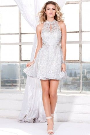 Ivory Short Lace A-Line Prom Dress 4083
