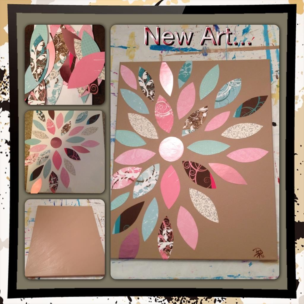 Scrapbook paper on painted canvas