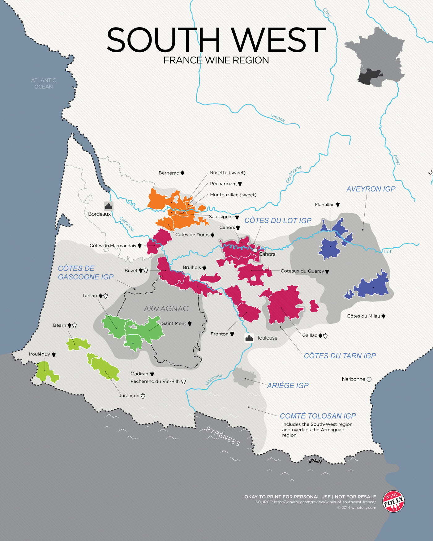 The Wines of South West France map Wine Brands
