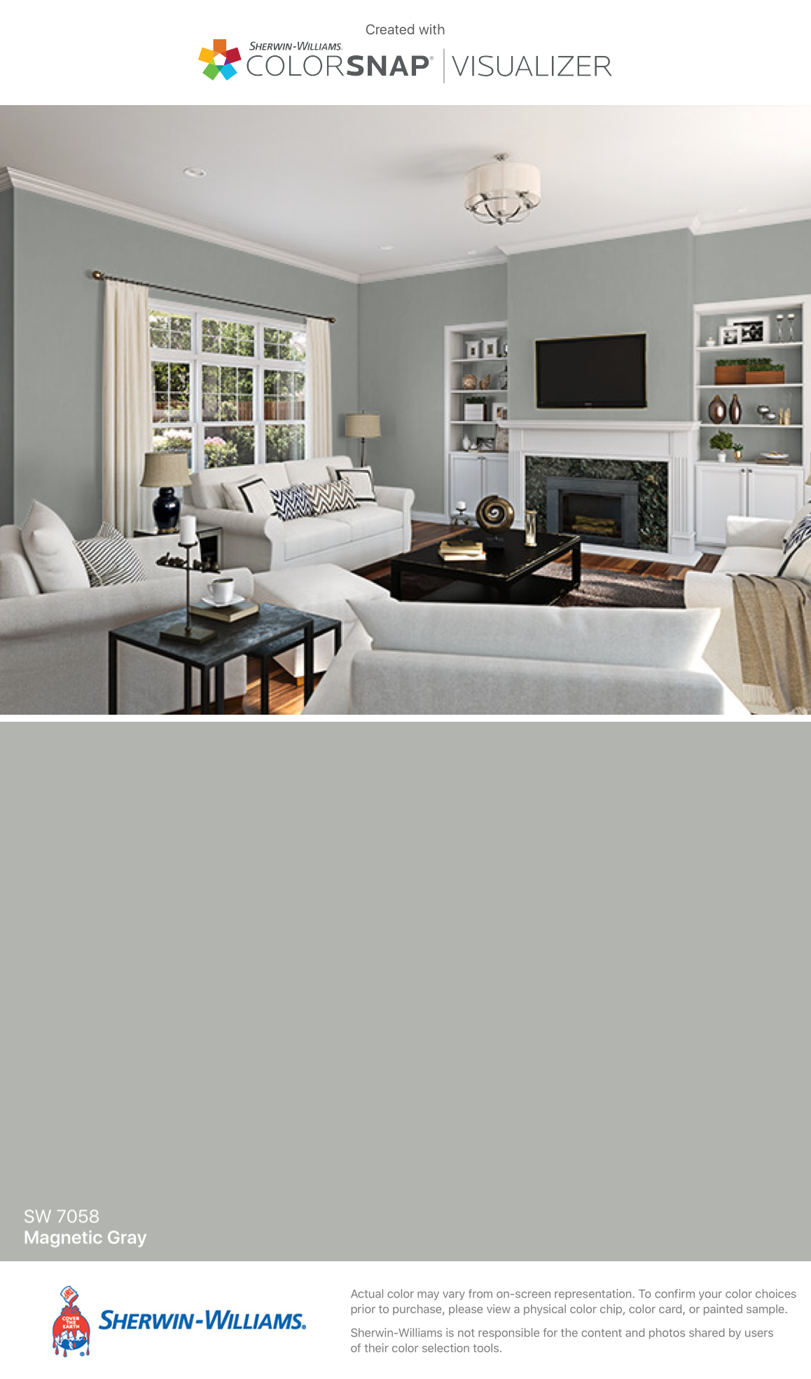 I Found This Color With Colorsnap Visualizer For Iphone By Sherwin Williams Magnetic Gray Sw 7058