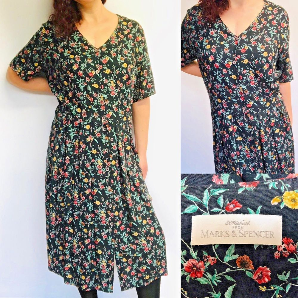 5fbab2e5852 Vtg 90s Ditsy Floral Black Smock Button Down Shirt Dress UK Size 20 Modern  16