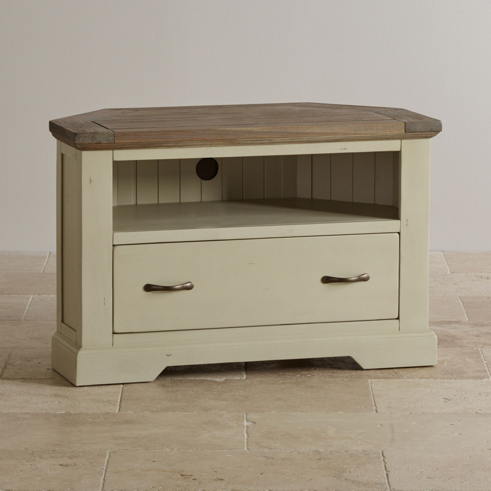 Viva plast wooden colours - Isabella Brushed Acacia And Painted Corner Tv Cabinet