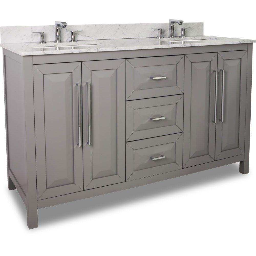 This 60 Inch Grey Finish Double Sink Bathroom Vanity Carrera Marble Countertop Large Bathroom Vanity Double Sink Bathroom Vanity Contemporary Bathroom Vanity
