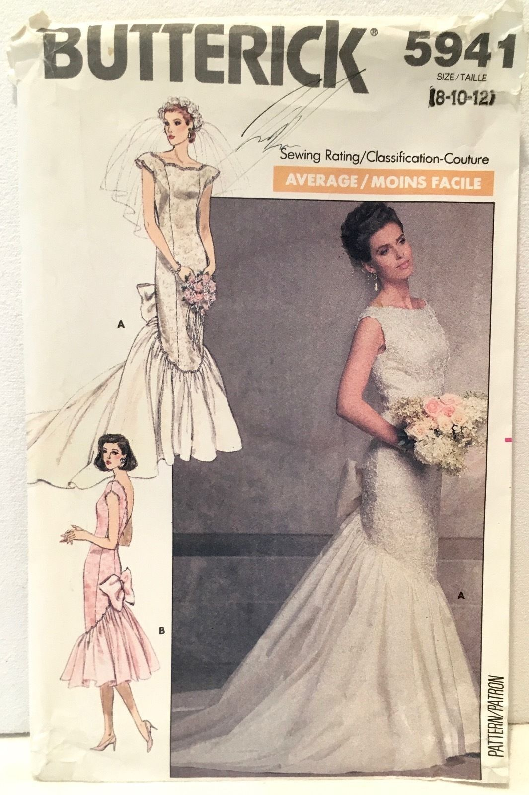 Vintage Butterick 5941. Misses\' Mermaid Fishtail Wedding Dress. Sz 8 ...