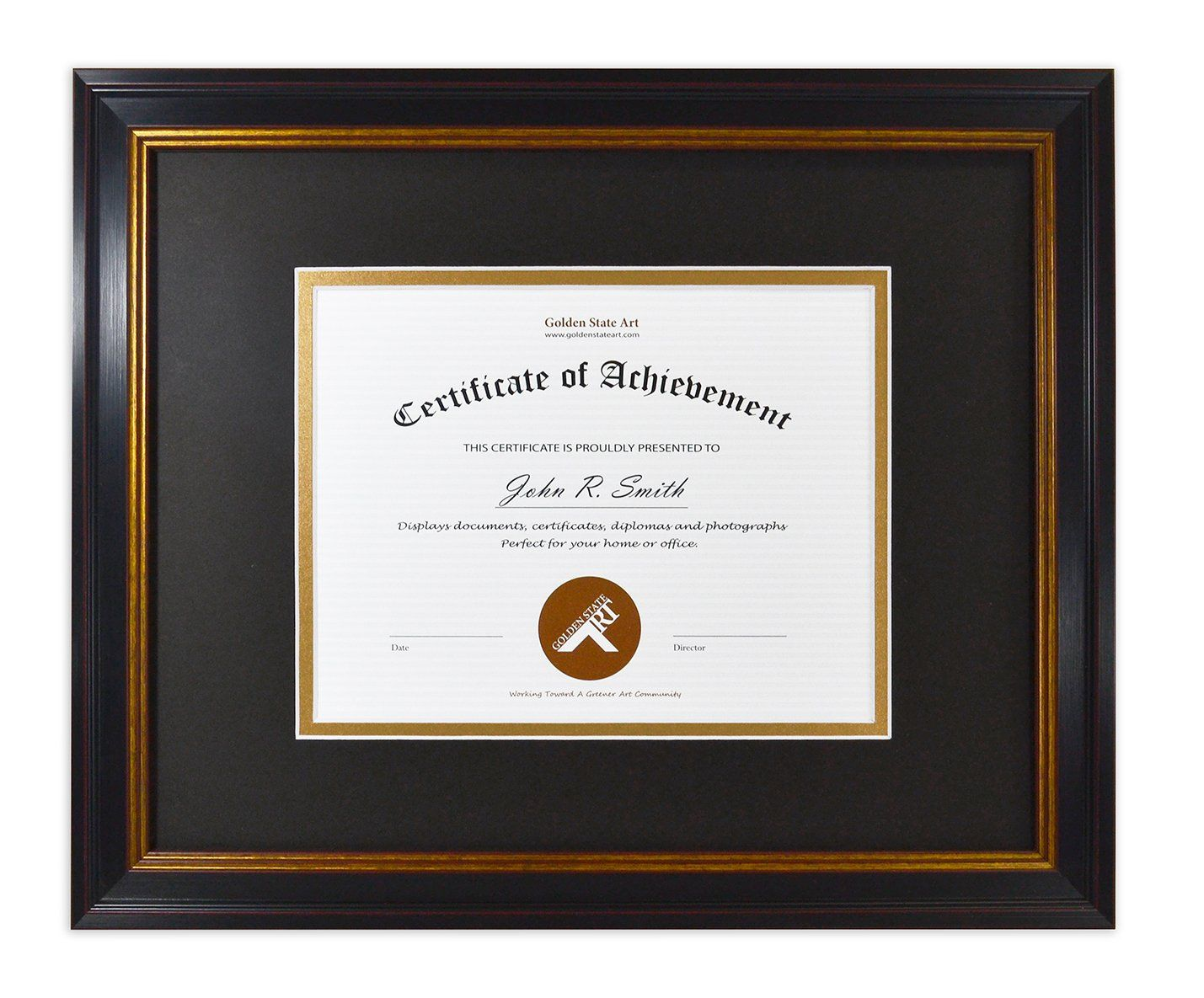 Golden State Art 11x14 Frame For 7x9 Diploma Certificate Black Gold And Burgundy Color Includes Black Over Gold Doub Frame State Art Distressed Picture Frames