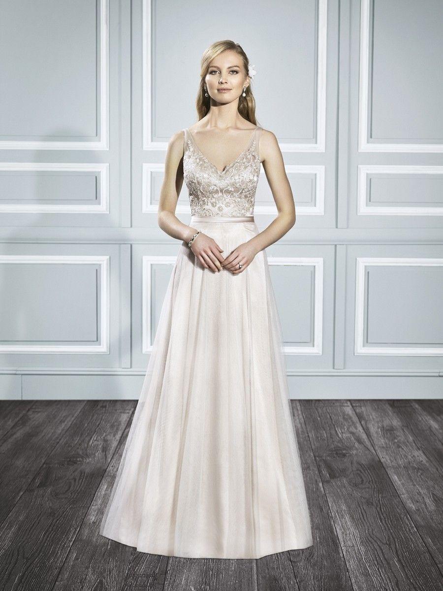Champagne boho bridal dress Chiffon wedding gowns