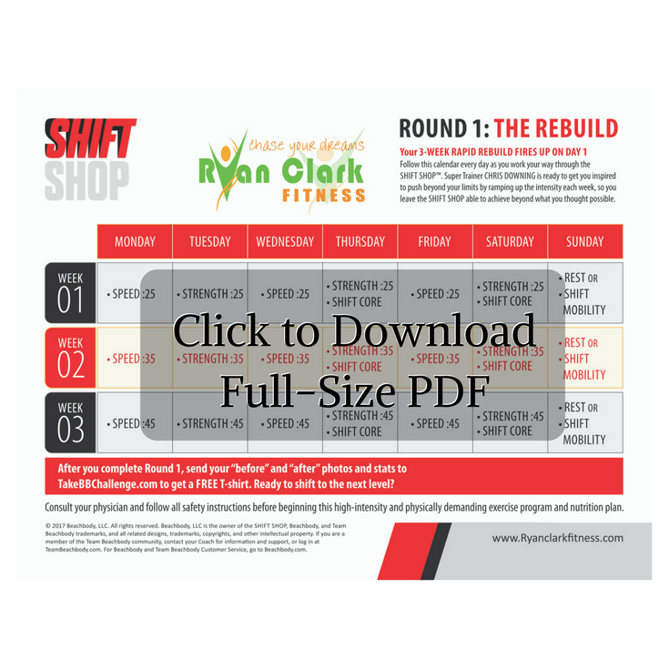 Looking To Download A Shift Shop Workout Calendar That Does Not Use As Much Ink As The Original Cl Workout Calendar Beachbody Workout Program Workout Sheets