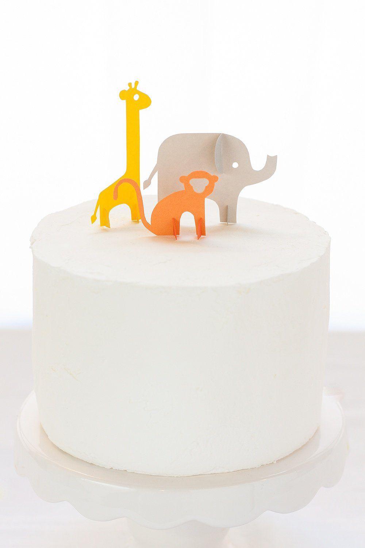 Diy Jungle Animal Cake Toppers Safari Baby Shower Cake Animal Cake Topper Baby Shower Cake Topper