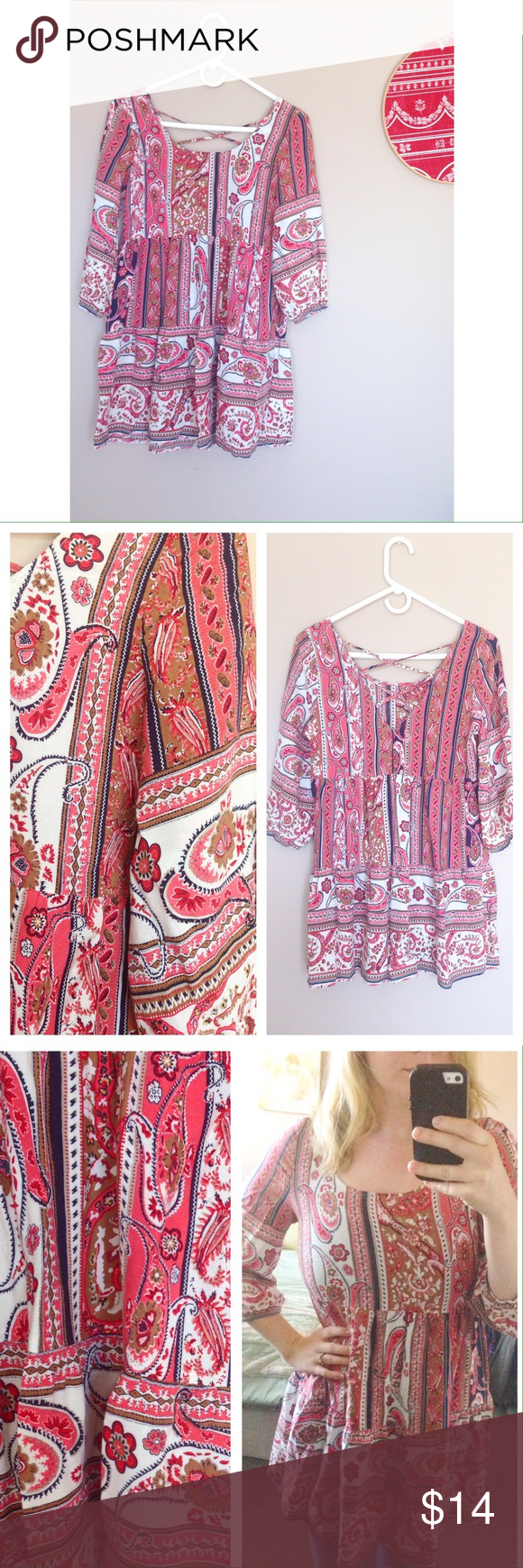 "Beautiful ""Umgee"" Boho tunic top/mini dress Lightweight and comfy! Criss-crosses in back. Size small, can fit medium as well (bust 34"", length 31"") excellent condition. umgee Tops Tunics"