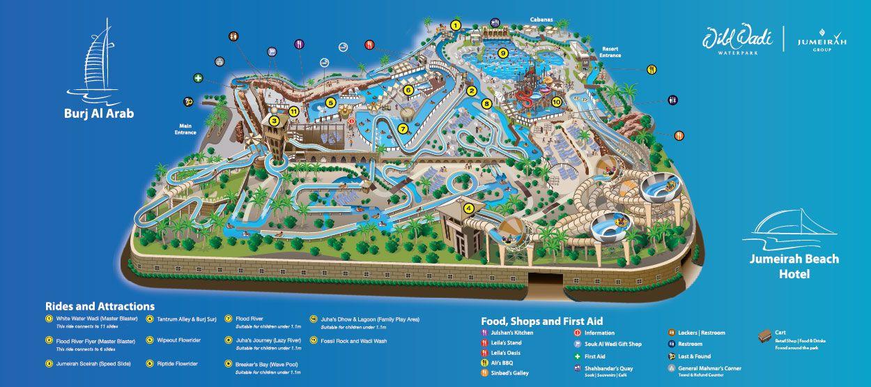 United Arab Emirates Dubai Wild wadi map