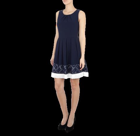 Apricot Kleid mit Taillenband und floraler Spitze I ...