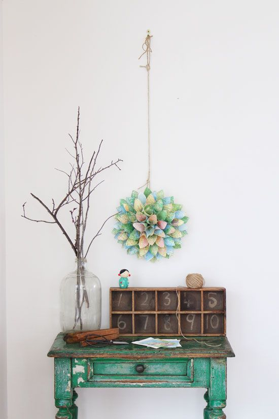 Upcycled atlas wreath