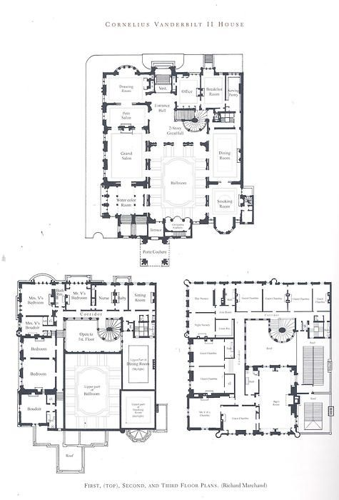 Cornelius Vanderbilt Ii Residence The Largest Home Ever Built In New York City With 137 Rooms 37 Bedro Mansion Floor Plan Vintage House Plans Mansion Plans