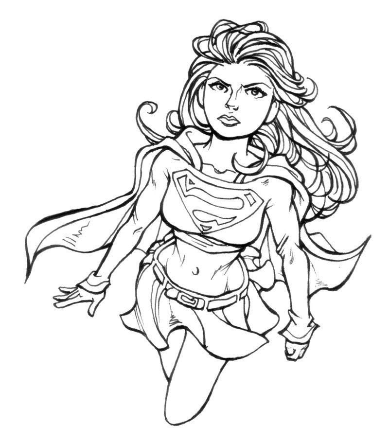 coloriage supergirl Sketches, Female sketch, Dc super