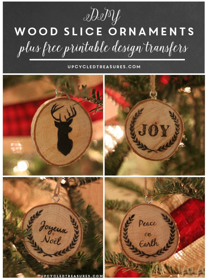 Diy wood slice christmas ornaments upcycled treasures christmas