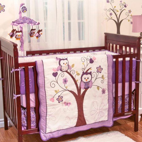 Plum Owl Meadow 5 Piece Baby Crib Bedding Set With Bumper By