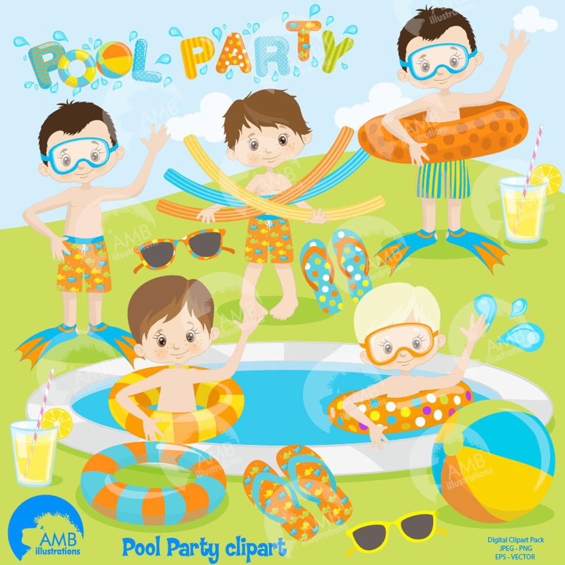 Boys Pool party Swimming clipart Pool party Clipart Package