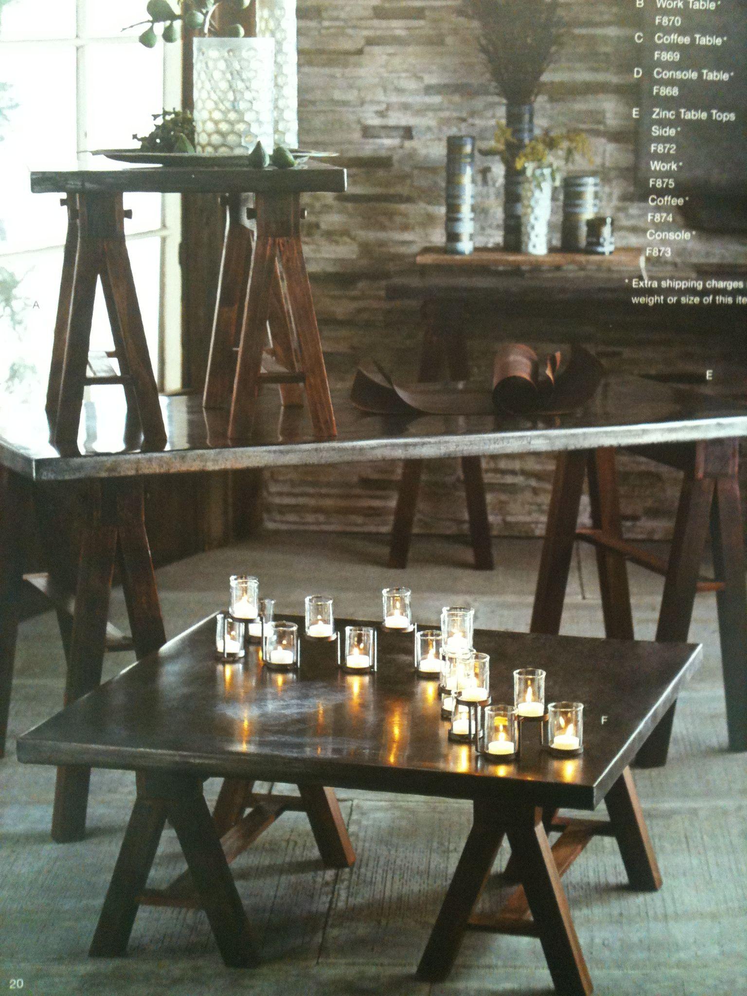 Dark Pine Trestles & Zinc Table Tops Roost F868 125