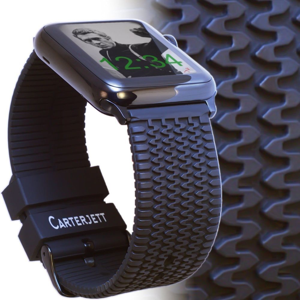 Le Watch Band 42mm Tire Tread Sport Silicone Iwatch Rugged Black Rubbe Carterjett