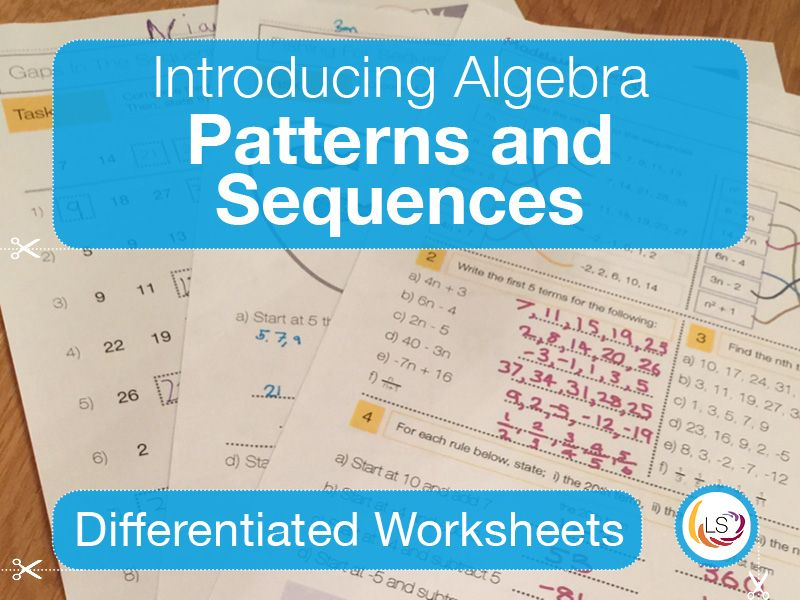 Algebra Patterns and Sequences Worksheets in 2020 Math