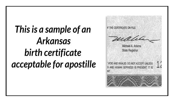 this is a sample of an Arkansas birth certificate acceptable for ...