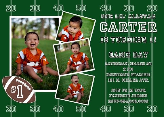 Football Custom Birthday Party Invitation By Andreagerigdesigns 1600