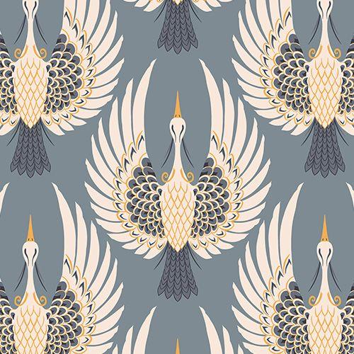 Art Deco Crane Wallpaper Bird Design Muralswallpaper In 2021 Art Deco Wallpaper Art Deco Tattoo Art Deco Paintings