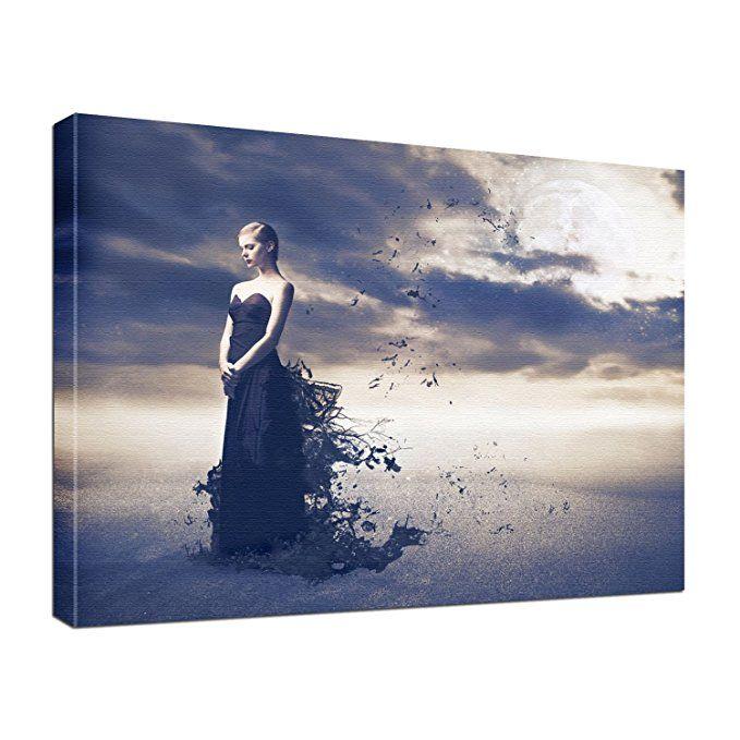 leinwand bild edel gothic fantasy black lady größe 60 x 40