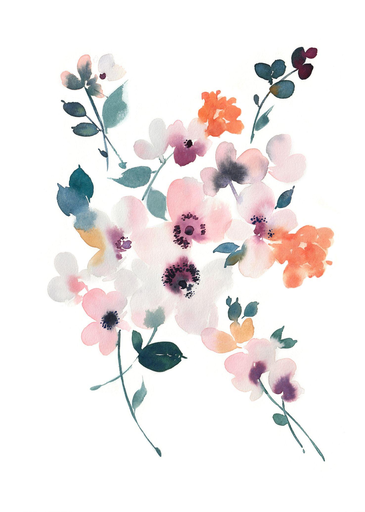 Abstract Watercolor Floral Wall Art Print Watercolor Flower Prints Watercolor Flowers Floral Watercolor