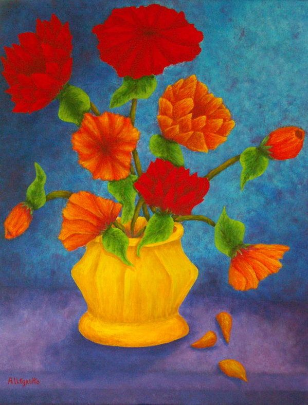 Style Of Red And Orange Flowers by Pamela Allegretto - Amazing orange flower painting Trending