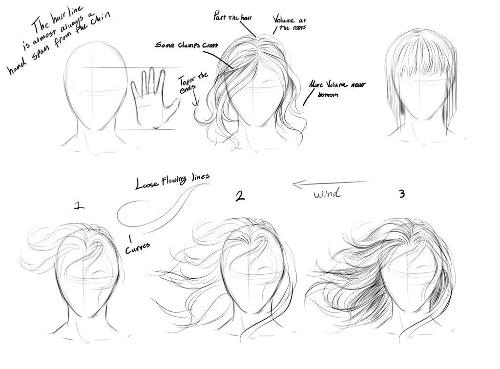 Drawing step by step hair google search