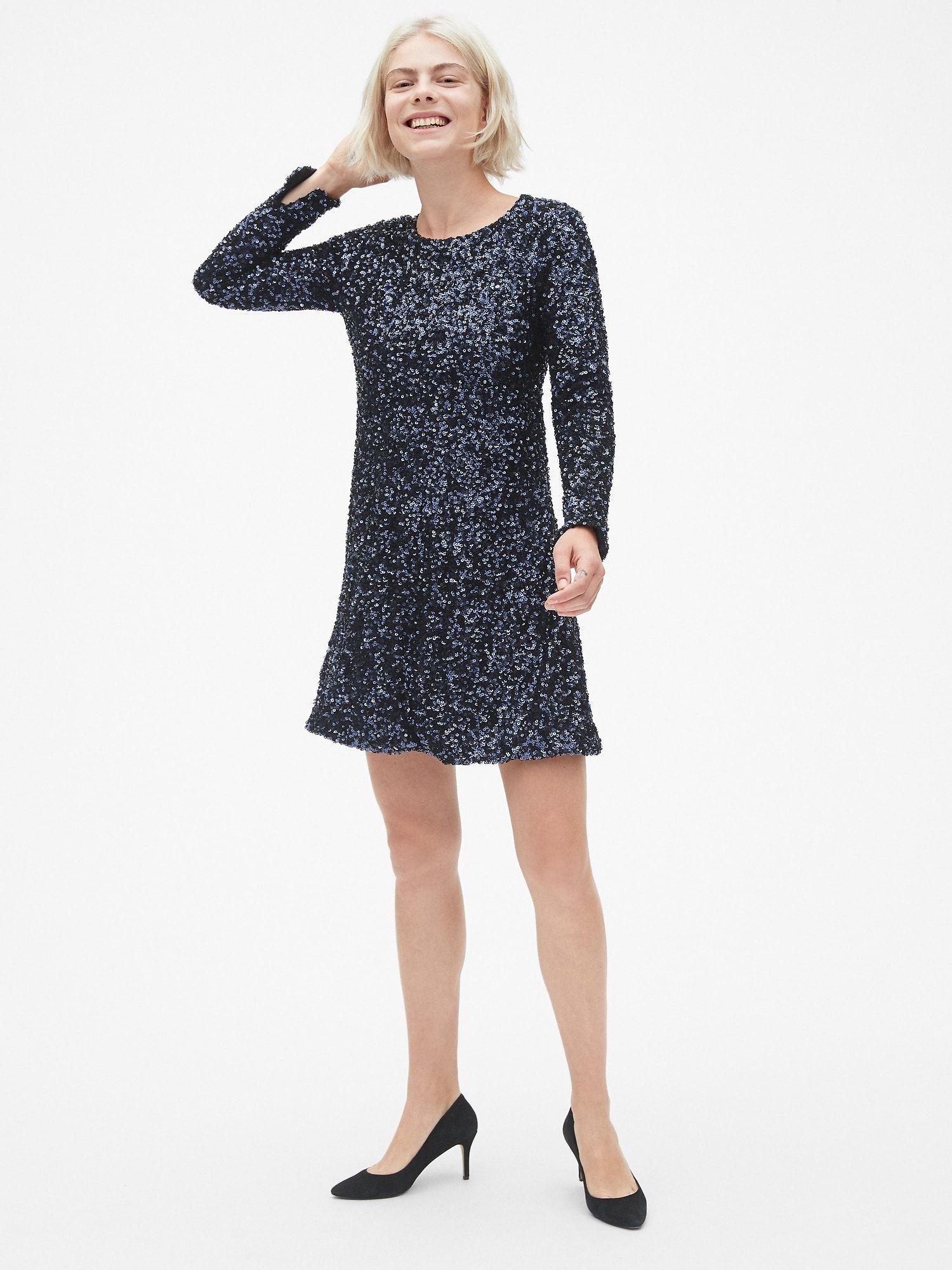 Long Sleeve Sequin Swing Dress Gap Sequin swing dress