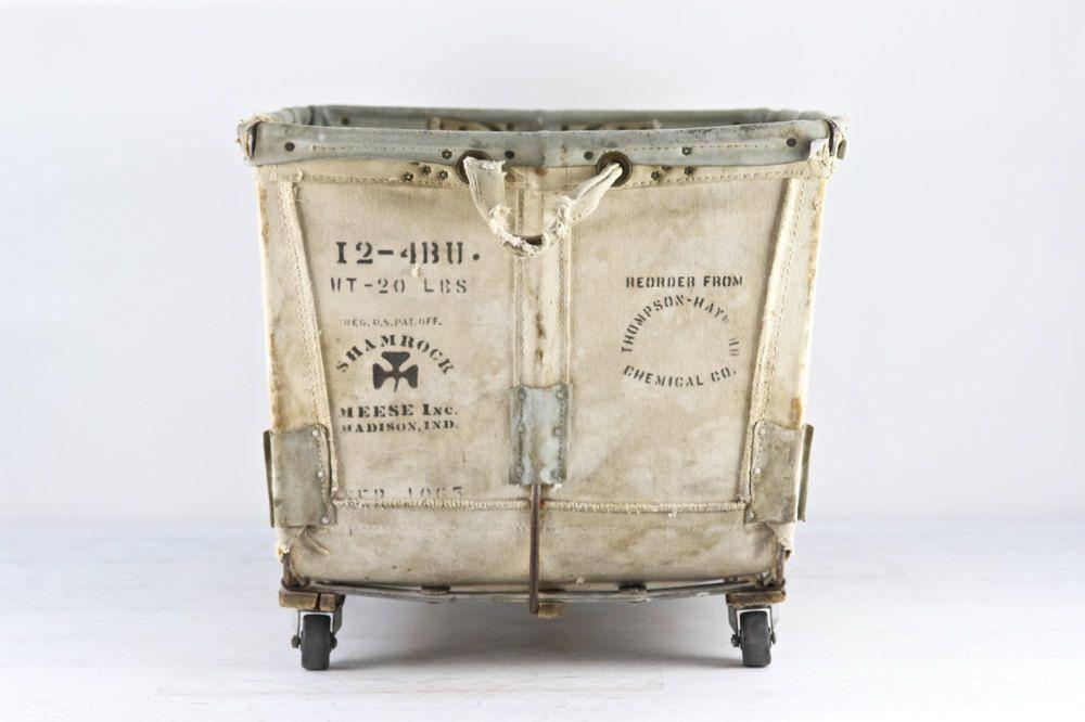 Canvas Laundry Cart Vintage